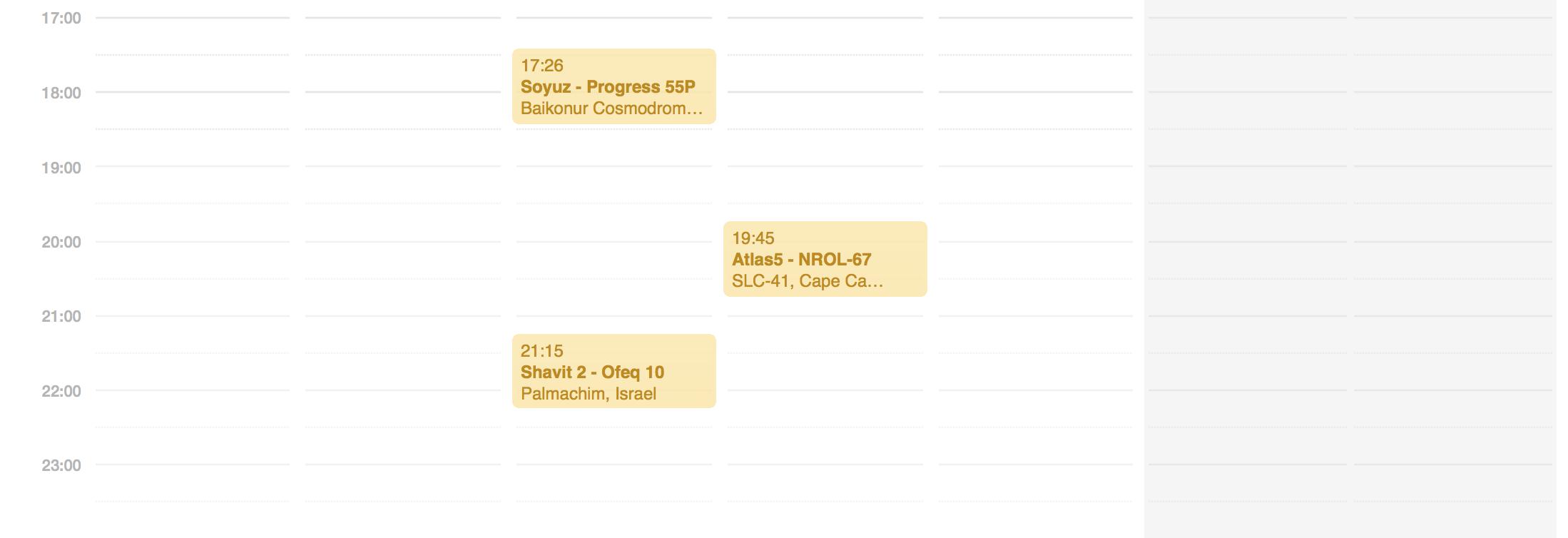 SpaceFlightNow Launch Schedule Calendar